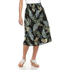 Women's Croft & Barrow Smocked Challis Midi Skirt