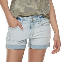 Juniors' SO® Double-Button Denim Midi Shorts