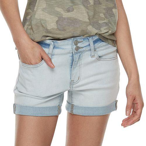 138535d5f3 Juniors' SO® Double-Button Denim Midi Shorts