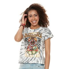 Junior's 'Woodstock' Tie-Dye Crop Graphic Tee