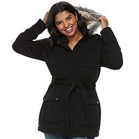 Juniors' Plus Size Urban Republic Faux-Fur Hood Fleece Coat