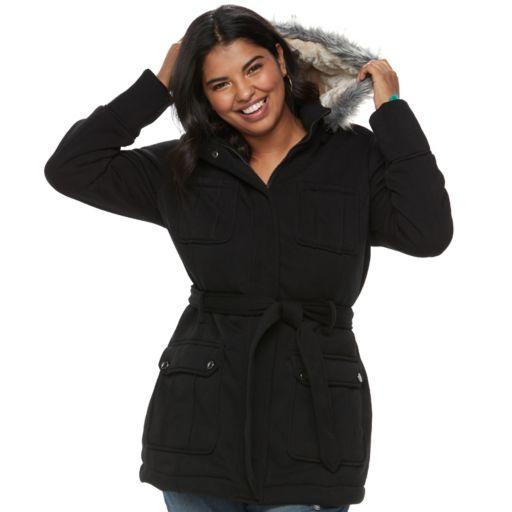 Juniors' Plus Size Urban Republic Faux-Fur Hood Fleece Coat