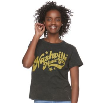 "Juniors' Mighty Fine ""Nashville"" Crop Graphic Tee"