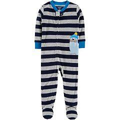 Baby Boy Carter's Striped Walrus Microfleece Footed Pajamas