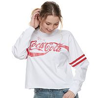 Juniors' Coca-Cola Striped Crop Tee