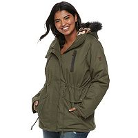 Juniors' Plus Size Urban Republic Leopard Faux-Fur Hooded Jacket