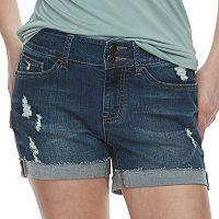 Juniors' SO® Frayed-Hem Denim Midi Shorts