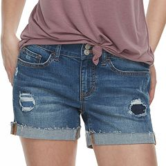 Juniors' SO® Frayed-Hem Denim Midi Shorts