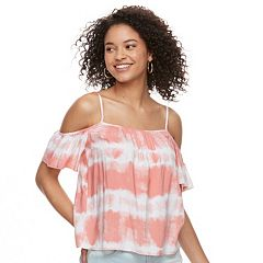 Juniors' Love, Fire Challis Cold-Shoulder Top