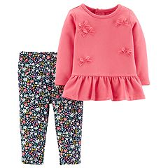 Baby Girl Carter's Bow French Terry Peplum Top & Floral Leggings Set