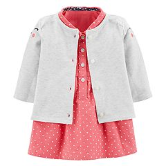 Baby Girl Carter's Critter Cardigan & Corduroy Polka-Dot Dress Set