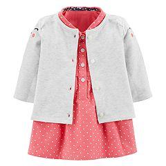 Baby Girl Carter's Critter Cardigan & Corduroy Polka-Dot Dress Set