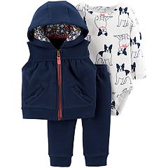 Baby Girl Carter's Hooded Vest Jacket, Dog Print Bodysuit & Pants Set