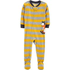 Baby Boy Carter's Striped Husky Microfleece Footed Pajamas