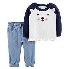 Baby Girl Carter's Puppy Dog Sweater & Chambray Pants Set