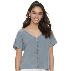 Juniors' Mudd® Button-Front Crop Top