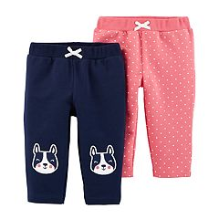 Baby Girl Carter's 2-pack Polka-Dot & Puppy Dog French Terry Pull-On Pants
