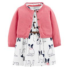 Baby Girl Carter's Dog Print Dress & Cardigan Set