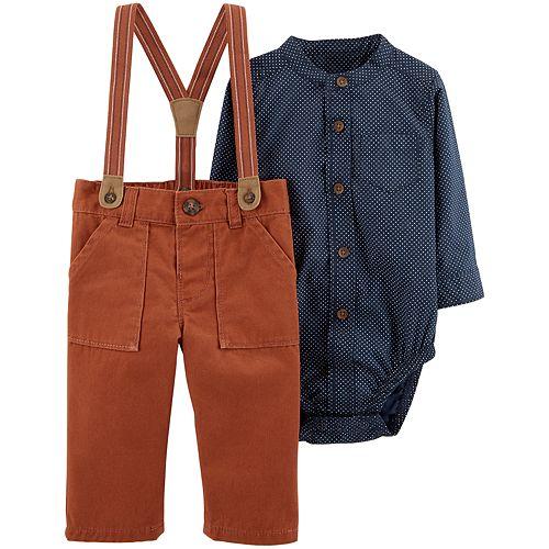 Baby Boy Carter's Suspender Pants & Button-Front Bodysuit