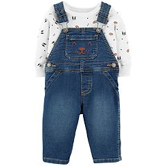 Baby Boy Carter's Dog Face Embroidered Overalls & Dog Print Bodysuit Set