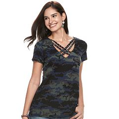 Women's Rock & Republic® Strappy Crisscross Tee