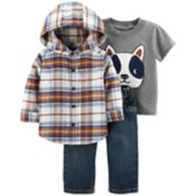Baby Boy Carter's Plaid Flannel Button-Front Hoodie, Dog Tee & Jeans Set
