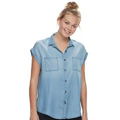 Juniors' SO® Chambray Button-Front Top