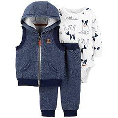 Baby Boy Carter's Hooded Vest Jacket, Dog Bodysuit & Pants Set