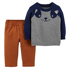 Baby Boy Carter's Dog Face Sweater & Canvas Pants Set