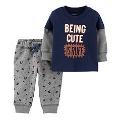 Baby Boy Carter's 'Being Cute Is Ruff' Mock-Layered Tee & Patterned Pants Set