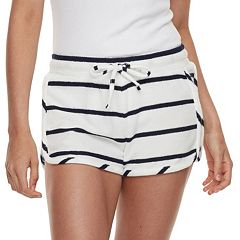 Juniors' Pink Republic Drawstring Terry Shortie Shorts