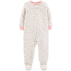 Baby Girl Carter's Cheeta Print Microfleece Footed Pajamas