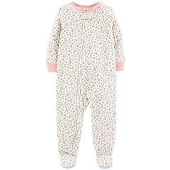 Baby Girl Carter's Cheeta Print Microfleece Footed Pajamas