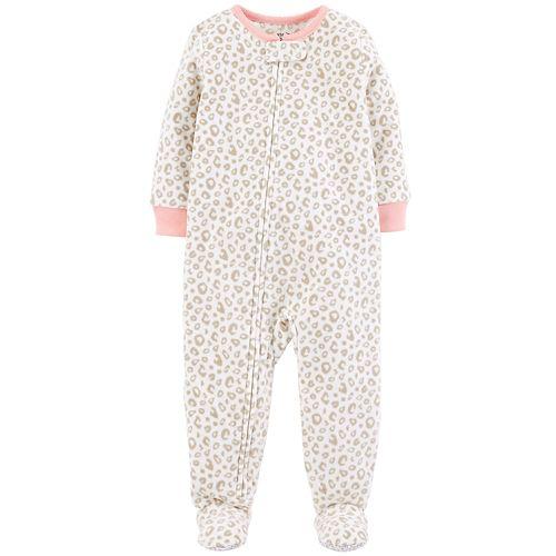 ea59ef52a Baby Girl Carter s Cheeta Print Microfleece Footed Pajamas