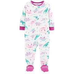 Baby Girl Carter's Dinosaur Microfleece Footed Pajamas