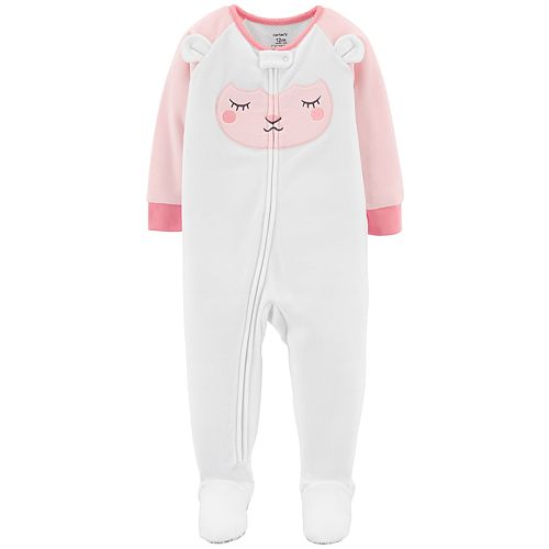 Baby Girl Carter's Sheep Microfleece Footed Pajamas