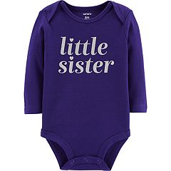 Baby Girl Carter's 'Little Sister' Glittery Graphic Bodysuit