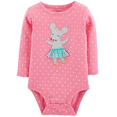 Baby Girl Carter's Polka-Dot Ballerina Mouse Bodysuit
