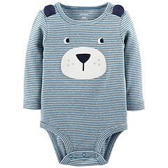 Baby Boy Carter's Striped Embroidered Bear Bodysuit