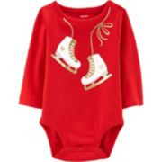 Baby Girl Carter's Glittery Ice Skates Graphic Bodysuit