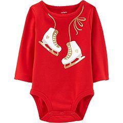 Baby Girl Carter's Glittery Ice Skates Graphic Bodysuit