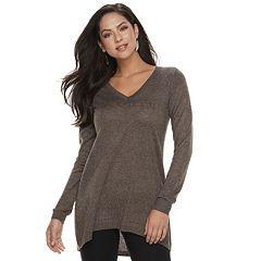 Women's Apt. 9® High-Low V-Neck Tunic Sweater