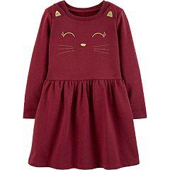 Toddler Girl Carter's Embroidered Cat Dress