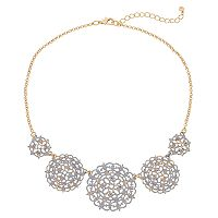 White Filigree Medallion Statement Necklace