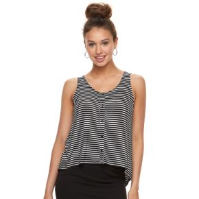 Juniors' Love, Fire Printed Button Front Tank