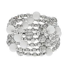 Silver Tone Bead Coil Bracelet