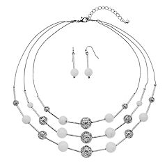 White Bead Multi Strand Illusion Necklace & Drop Earring Set