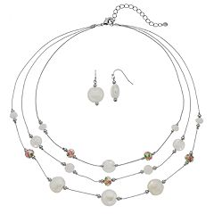 Bead Multi Strand Illusion Necklace & Drop Earring Set