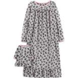 Girls 4-14 Carter's Cheetah Print Microfleece Nightgown with Doll Gown