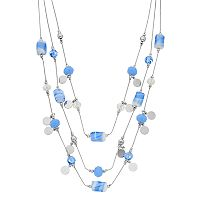 Silver Tone Beaded Multistrand Illusion Necklace